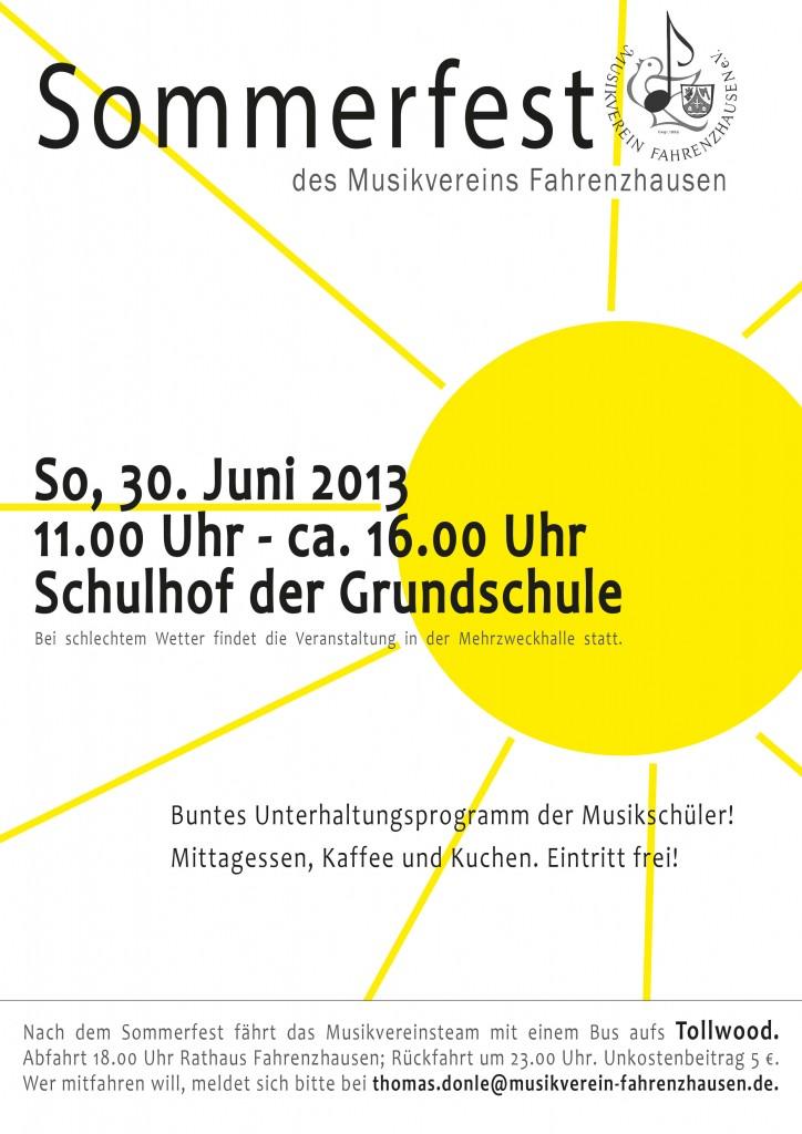 Sommerfest Plakat mit Tollwood 2013